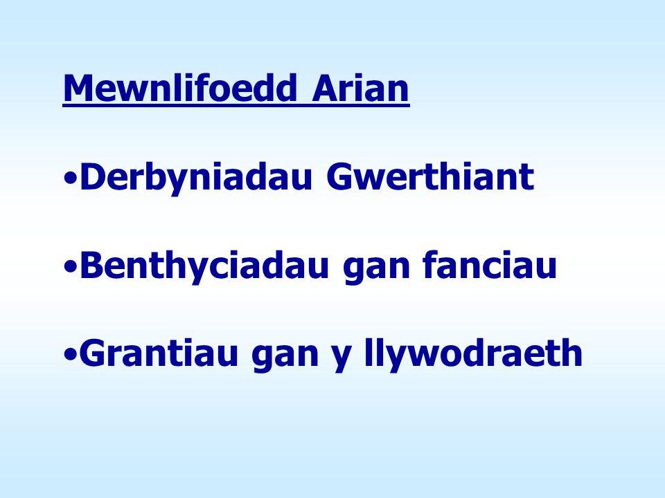 Mewnlifoedd Arian Derbyniadau Gwerthiant Benthyciadau gan fanciau Grantiau gan y llywodraeth