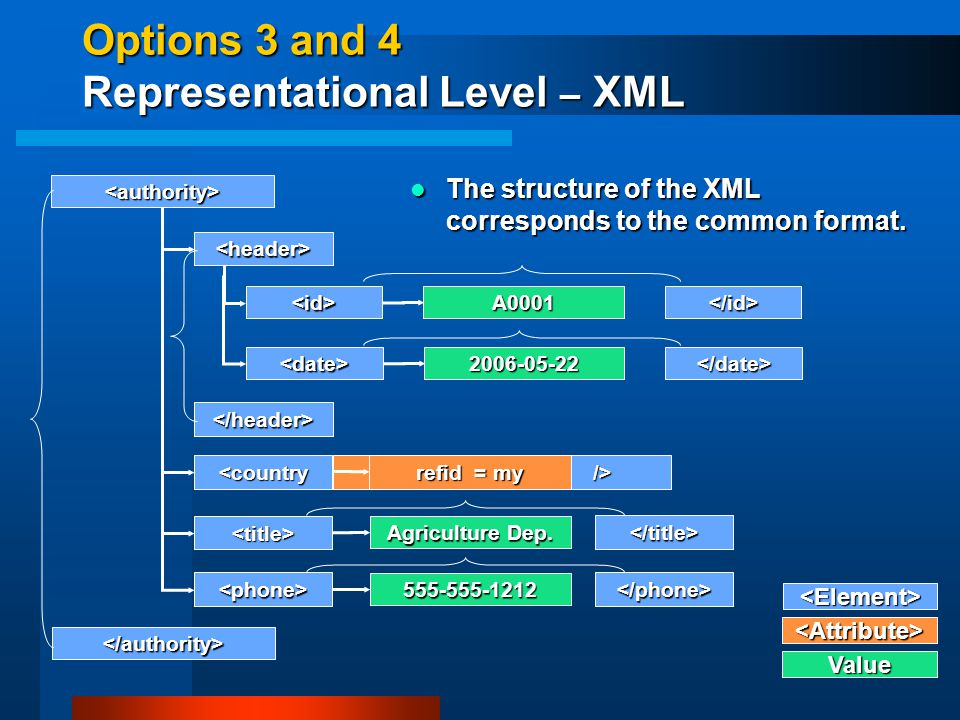 Options 3 and 4 Representational Level – XML <authority> <phone> <country <title> <Attribute> Value Agriculture Dep.