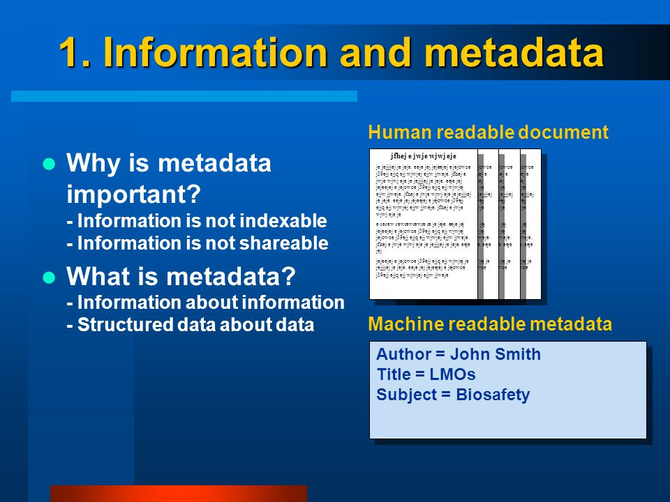 1. Information and metadata Why is metadata important.