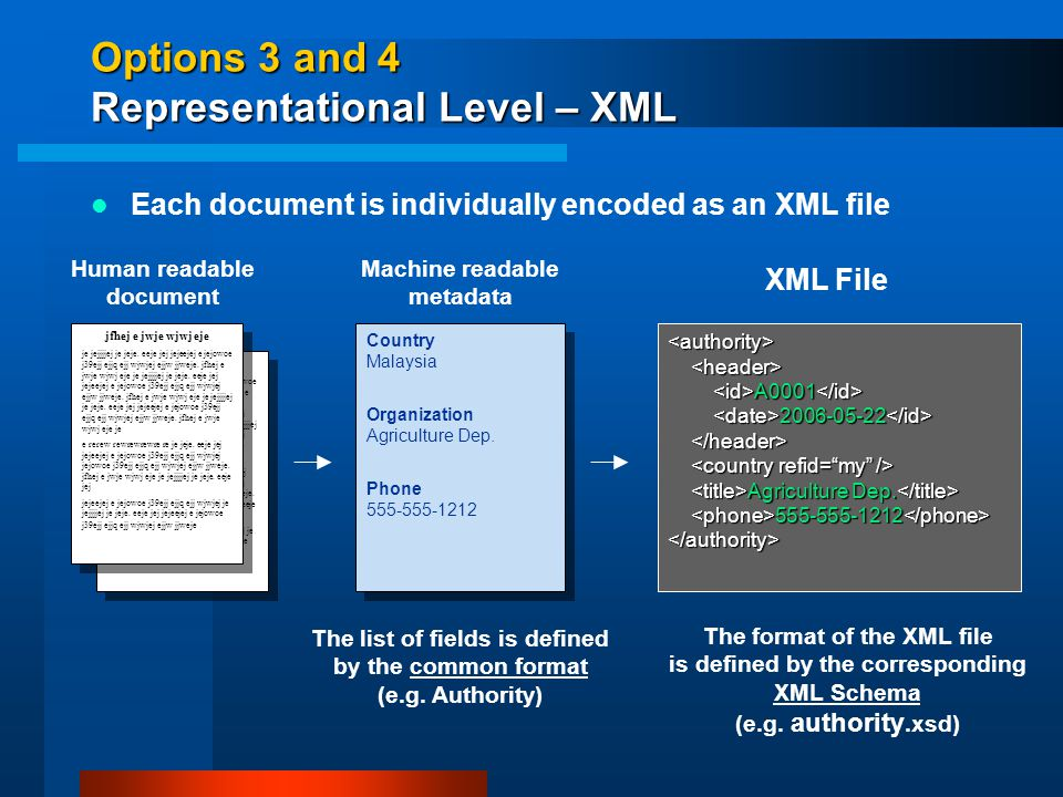 Options 3 and 4 Representational Level – XML Human readable document Country Malaysia Organization Agriculture Dep.