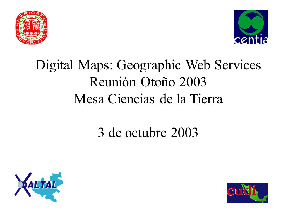 Intenet 2 and Geographic Applications Internet 2 as a communication channel Geographic data: big volume of data Digital Maps Construction for a specific domain Collections in servers Services to access collections