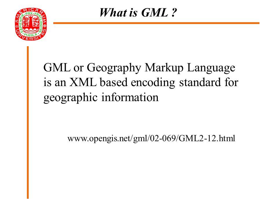 GML XSLT HTML SVG X3D Geo database GML VRML DBF SHP XSLT GML and GISELA
