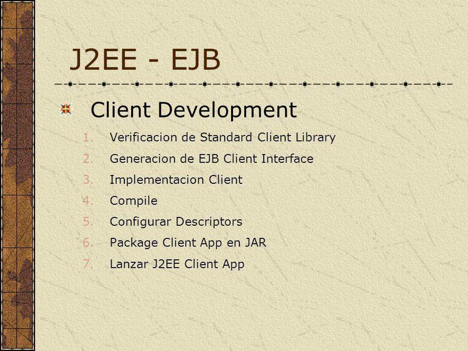 Client Development 1.Verificacion de Standard Client Library 2.Generacion de EJB Client Interface 3.Implementacion Client 4.Compile 5.Configurar Descriptors 6.Package Client App en JAR 7.Lanzar J2EE Client App