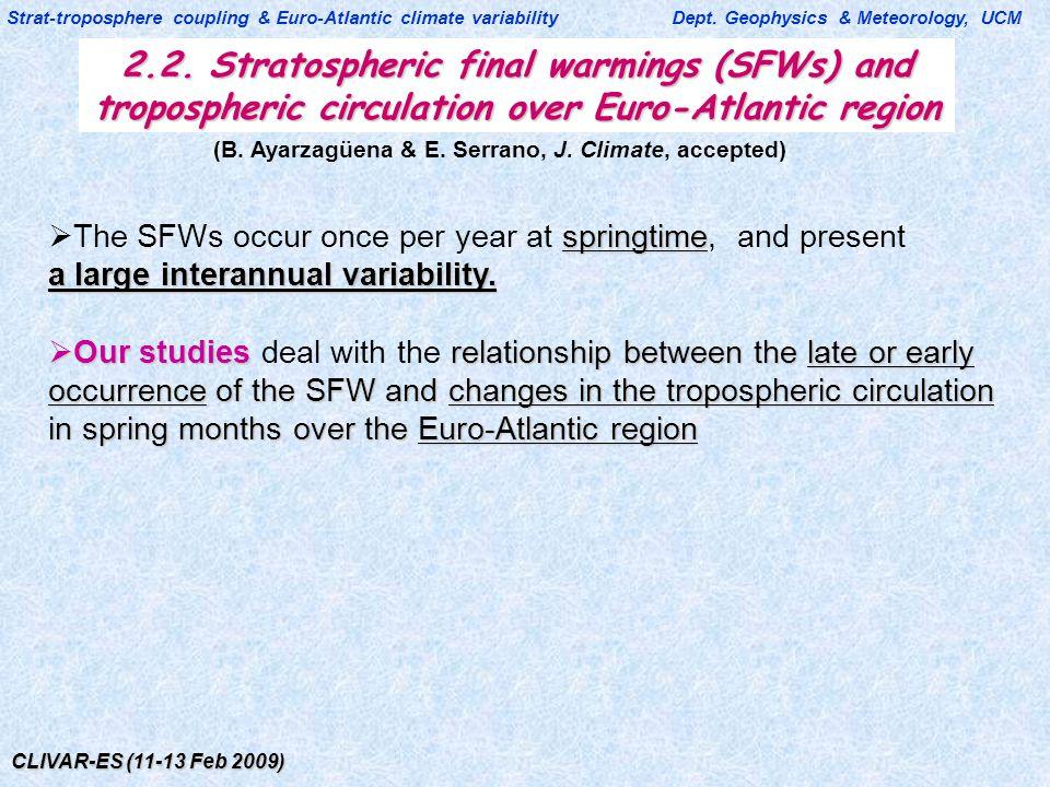 CLIVAR-ES (11-13 Feb 2009) 2.2. Stratospheric final warmings (SFWs) and tropospheric circulation over Euro-Atlantic region Strat-troposphere coupling