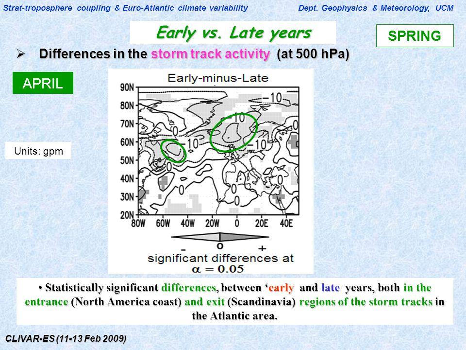 CLIVAR-ES (11-13 Feb 2009) Early vs. Late years Strat-troposphere coupling & Euro-Atlantic climate variability Dept. Geophysics & Meteorology, UCM  D