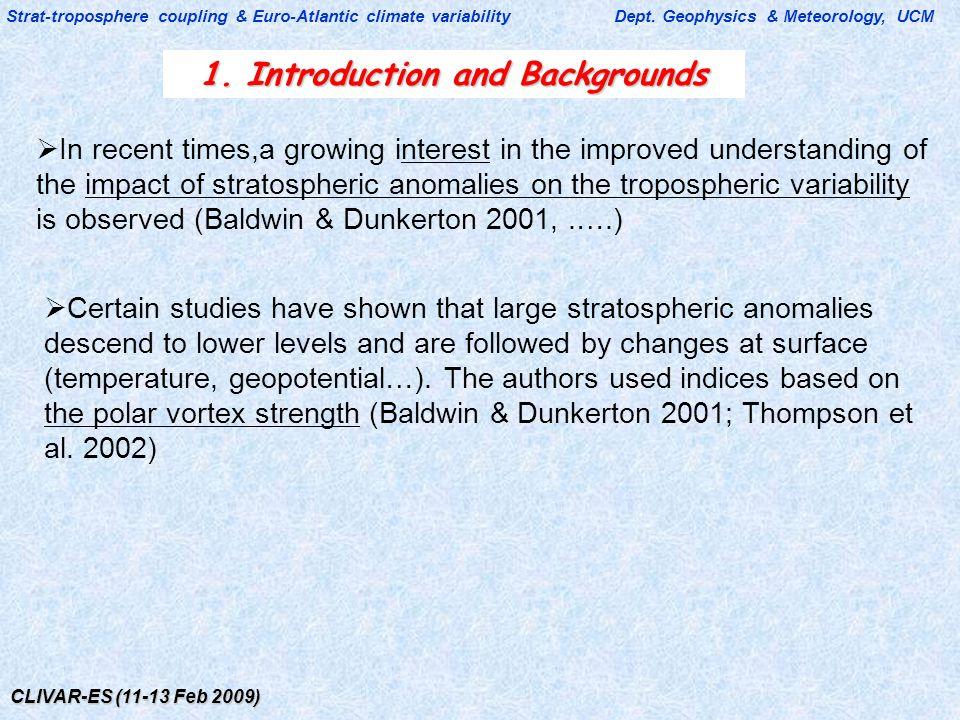 CLIVAR-ES (11-13 Feb 2009) Strat-troposphere coupling & Euro-Atlantic climate variability Dept. Geophysics & Meteorology, UCM 1. Introduction and Back