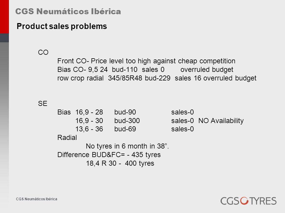 CGS Neumáticos Ibérica Competitors quality brand TAURUS and BFGOODRICH TaurusNo increase the prices since July 2005 Technical production problems.
