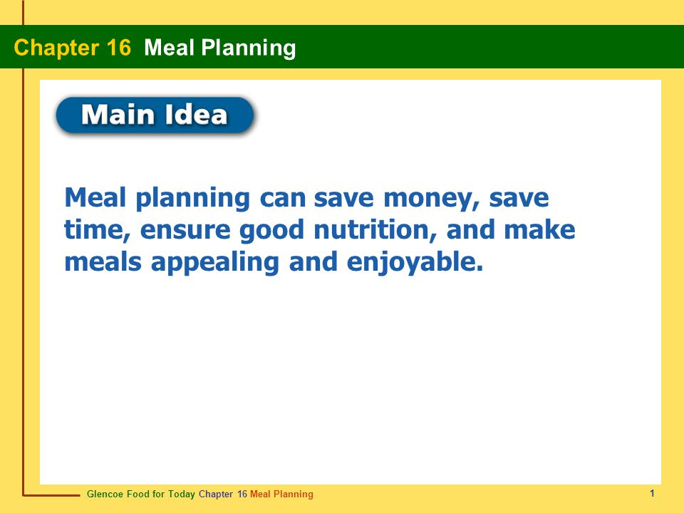 Glencoe Food for Today Chapter 16 Meal Planning Chapter 16 Meal Planning 1 Meal planning can save money, save time, ensure good nutrition, and make me