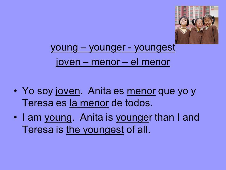 young – younger - youngest joven – menor – el menor Yo soy joven.