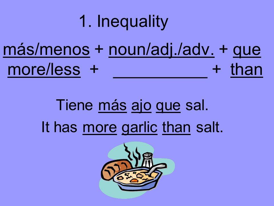 más/menos + noun/adj./adv. + que more/less + __________ + than Tiene más ajo que sal.