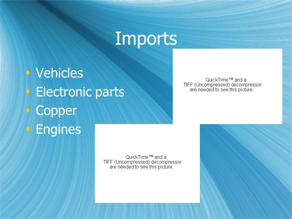 Imports  Vehicles  Electronic parts  Copper  Engines  Vehicles  Electronic parts  Copper  Engines