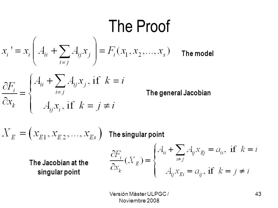 Versión Máster ULPGC / Noviembre 2008 43 The Proof The model The general Jacobian The singular point The Jacobian at the singular point
