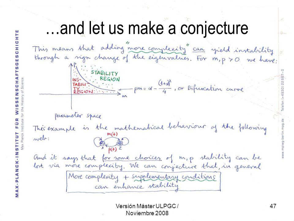 Versión Máster ULPGC / Noviembre 2008 47 …and let us make a conjecture