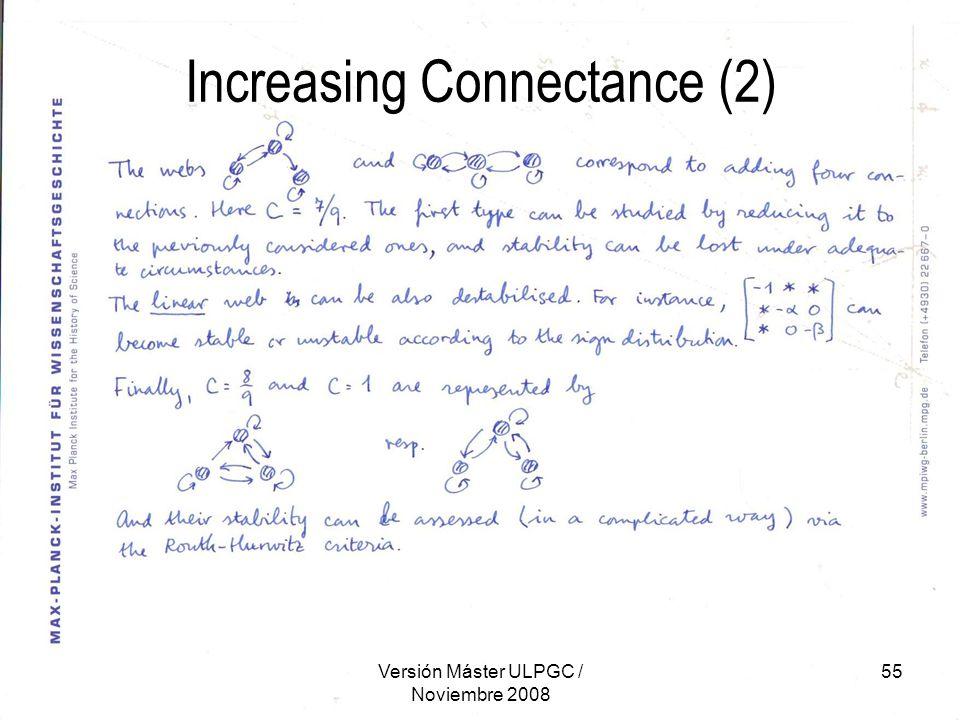 Versión Máster ULPGC / Noviembre 2008 55 Increasing Connectance (2)