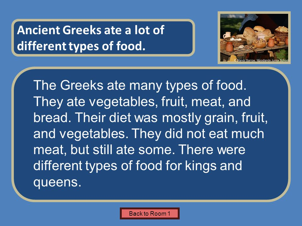 Name of Museum The Greeks ate many types of food. They ate vegetables, fruit, meat, and bread.