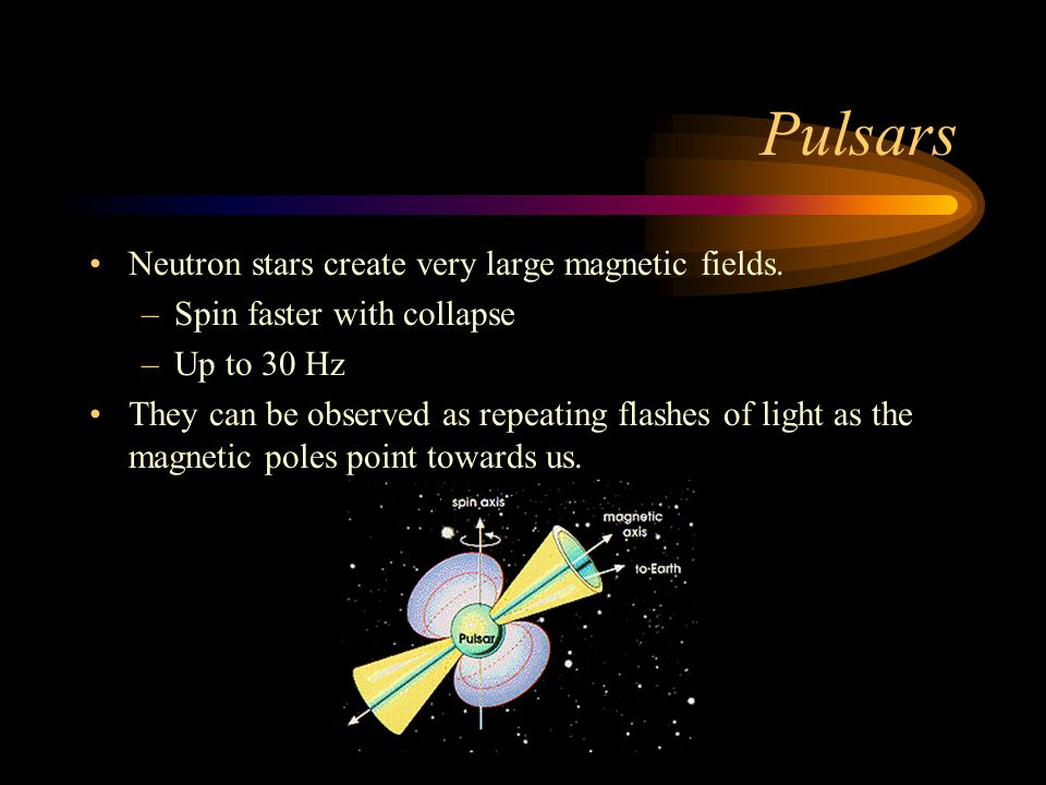Pulsars Neutron stars create very large magnetic fields.