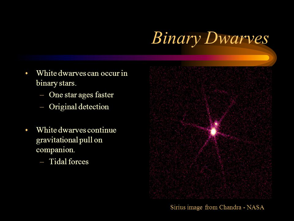 Binary Dwarves White dwarves can occur in binary stars.