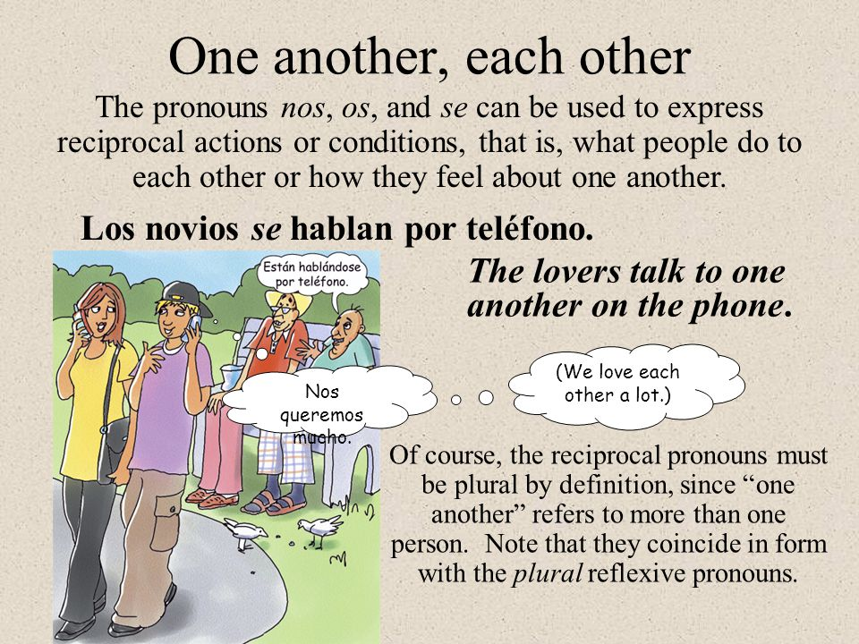 One another, each other The pronouns nos, os, and se can be used to express reciprocal actions or conditions, that is, what people do to each other or