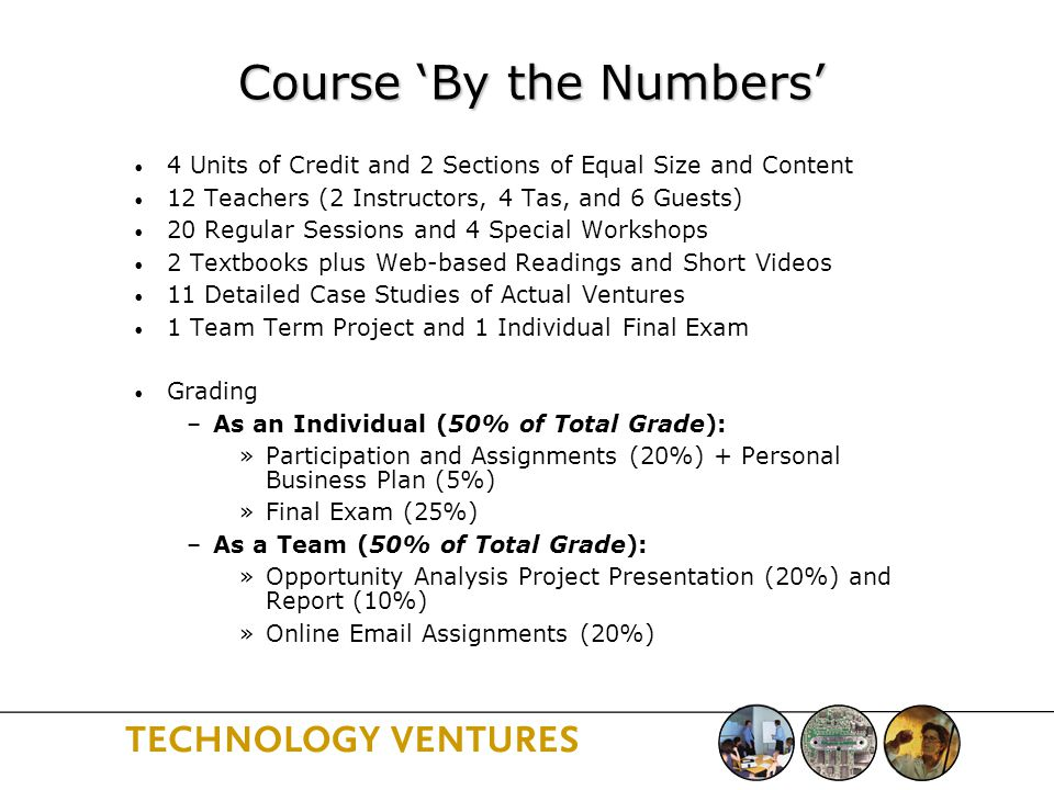 Course 'By the Numbers' 4 Units of Credit and 2 Sections of Equal Size and Content 12 Teachers (2 Instructors, 4 Tas, and 6 Guests) 20 Regular Sessions and 4 Special Workshops 2 Textbooks plus Web-based Readings and Short Videos 11 Detailed Case Studies of Actual Ventures 1 Team Term Project and 1 Individual Final Exam Grading –As an Individual (50% of Total Grade): »Participation and Assignments (20%) + Personal Business Plan (5%) »Final Exam (25%) –As a Team (50% of Total Grade): »Opportunity Analysis Project Presentation (20%) and Report (10%) »Online  Assignments (20%)