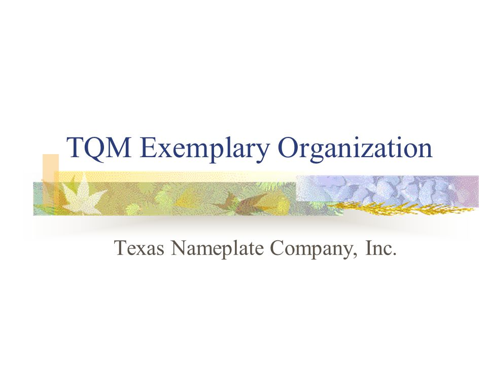 TQM Exemplary Organization Texas Nameplate Company, Inc.