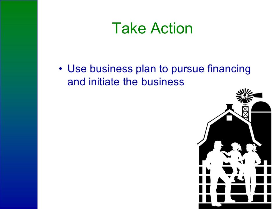 Take Action Use business plan to pursue financing and initiate the business