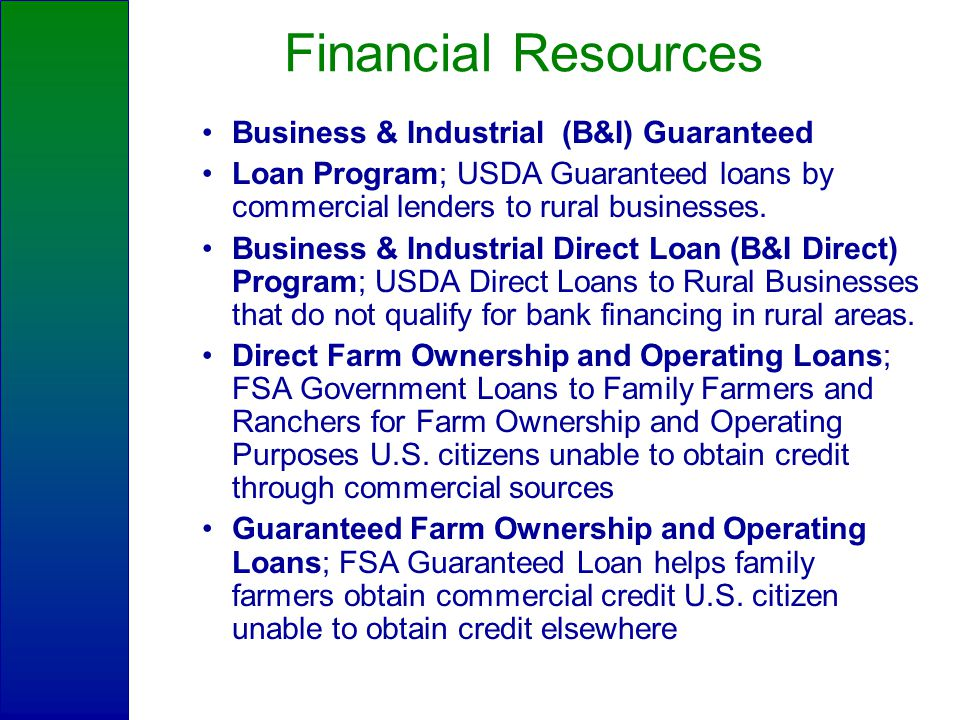 Financial Resources Business & Industrial (B&I) Guaranteed Loan Program; USDA Guaranteed loans by commercial lenders to rural businesses.