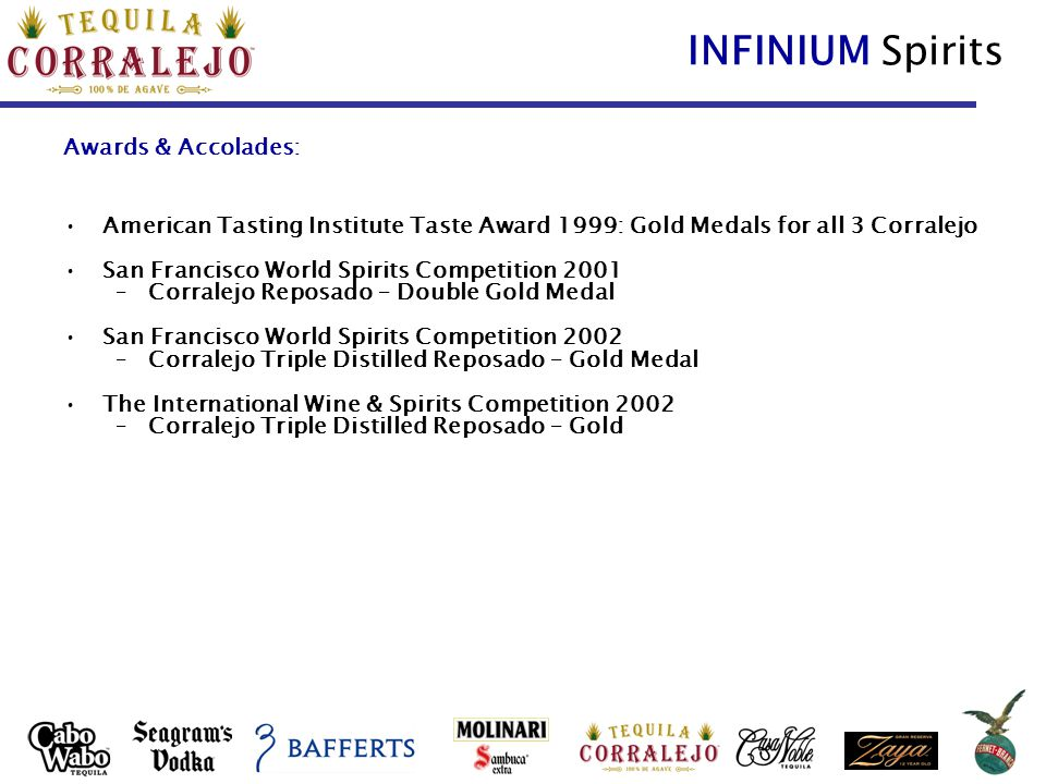 INFINIUM Spirits Awards & Accolades: American Tasting Institute Taste Award 1999: Gold Medals for all 3 Corralejo San Francisco World Spirits Competition 2001 –Corralejo Reposado – Double Gold Medal San Francisco World Spirits Competition 2002 –Corralejo Triple Distilled Reposado – Gold Medal The International Wine & Spirits Competition 2002 –Corralejo Triple Distilled Reposado – Gold