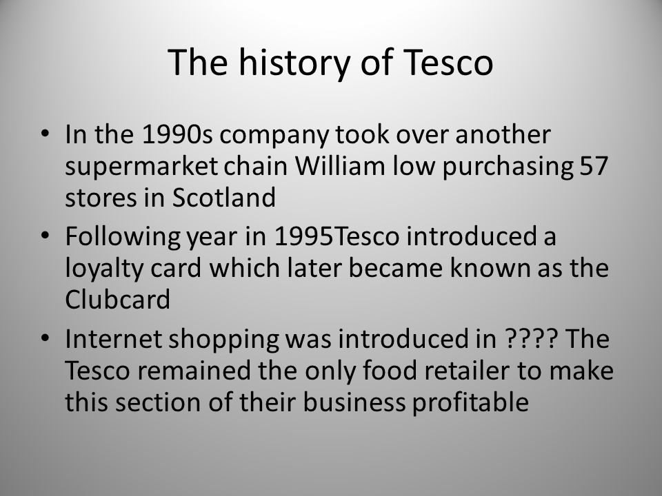 the history of tesco We recently announced the launch of our tesco history website, marking some of the most important milestones for tesco from 1919 to the present day watch our video 'the shop that jack built' below, which.