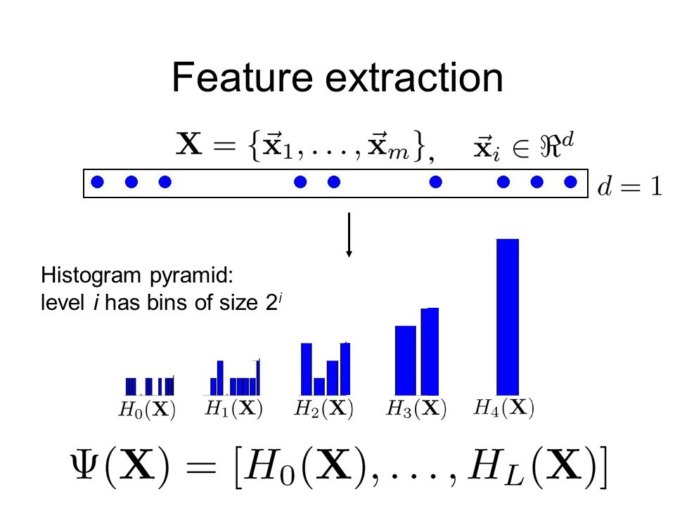 Feature extraction, Histogram pyramid: level i has bins of size 2 i