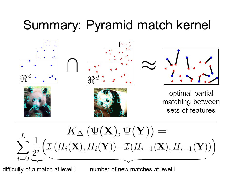 Summary: Pyramid match kernel optimal partial matching between sets of features number of new matches at level idifficulty of a match at level i