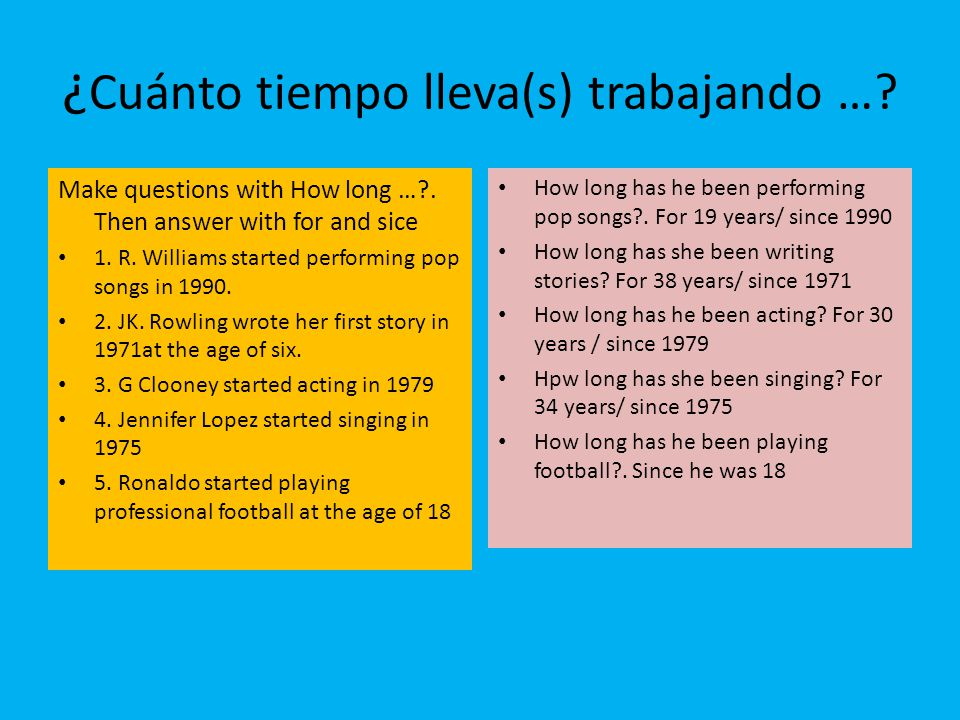 ¿ Cuánto tiempo lleva(s) trabajando …? Make questions with How long …?. Then answer with for and sice 1. R. Williams started performing pop songs in 1