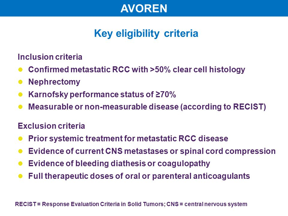 Key eligibility criteria RECIST = Response Evaluation Criteria in Solid Tumors; CNS = central nervous system Inclusion criteria Confirmed metastatic RCC with >50% clear cell histology Nephrectomy Karnofsky performance status of ≥70% Measurable or non-measurable disease (according to RECIST) Exclusion criteria Prior systemic treatment for metastatic RCC disease Evidence of current CNS metastases or spinal cord compression Evidence of bleeding diathesis or coagulopathy Full therapeutic doses of oral or parenteral anticoagulants AVOREN
