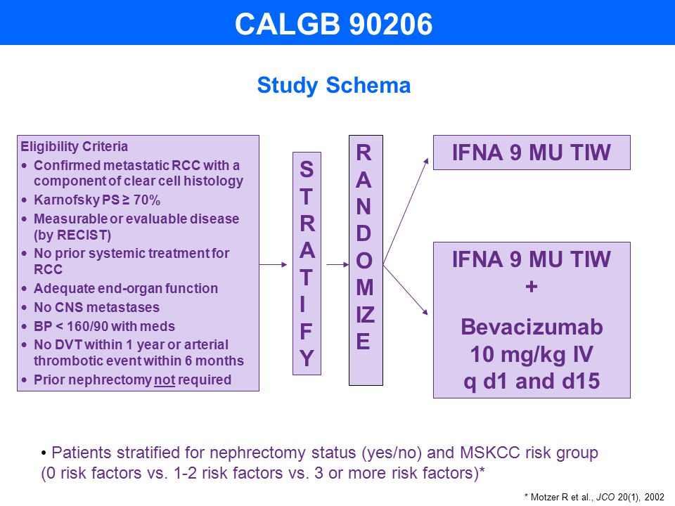 Study Schema R A N D O M IZ E IFNA 9 MU TIW IFNA 9 MU TIW + Bevacizumab 10 mg/kg IV q d1 and d15 STRATIFYSTRATIFY Patients stratified for nephrectomy status (yes/no) and MSKCC risk group (0 risk factors vs.