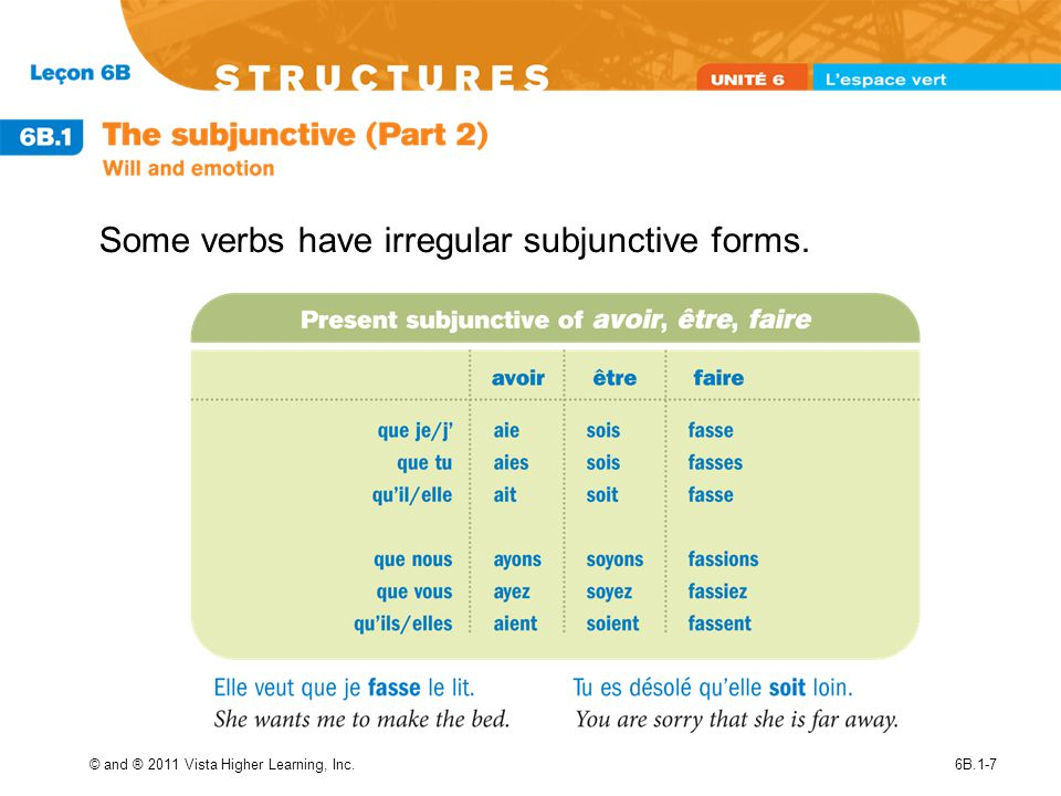 © and ® 2011 Vista Higher Learning, Inc.6B.1-7 Some verbs have irregular subjunctive forms.