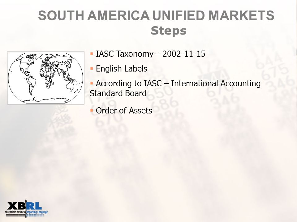 SOUTH AMERICA UNIFIED MARKETS Steps  IASC Taxonomy – 2002-11-15  English Labels  According to IASC – International Accounting Standard Board  Order of Assets