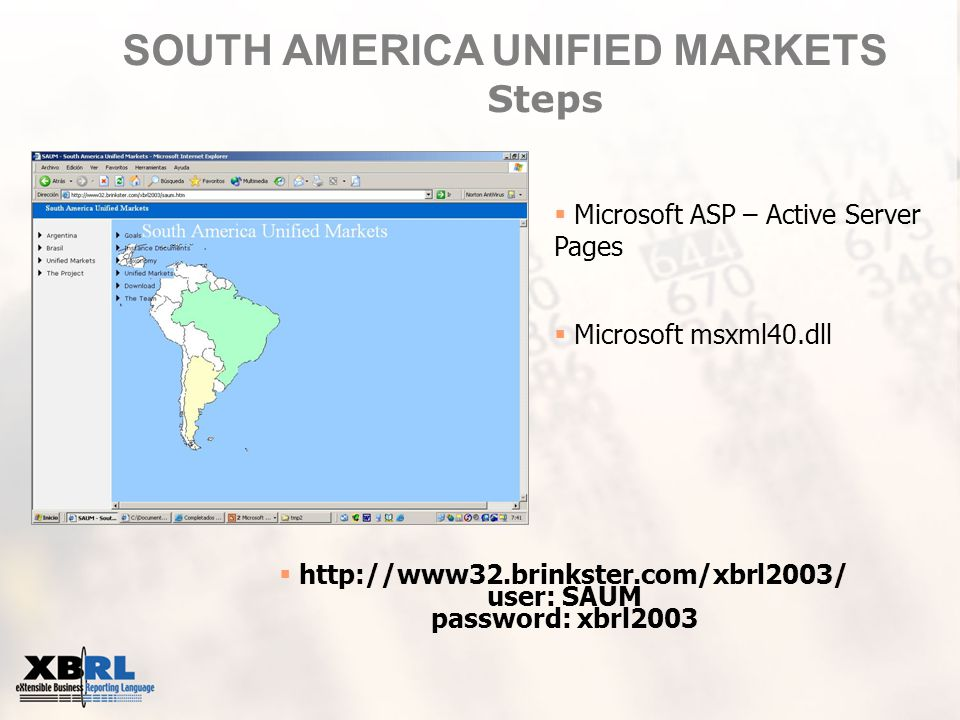 SOUTH AMERICA UNIFIED MARKETS Steps  http://www32.brinkster.com/xbrl2003/ user: SAUM password: xbrl2003  Microsoft ASP – Active Server Pages  Microsoft msxml40.dll
