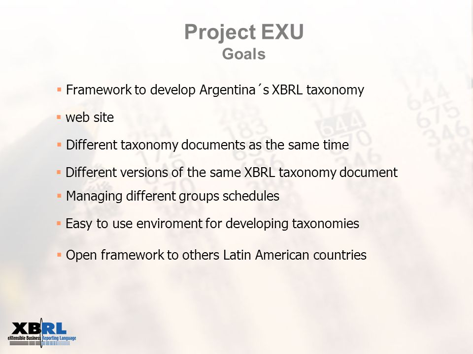 Project EXU Goals  Framework to develop Argentina´s XBRL taxonomy  web site  Different taxonomy documents as the same time  Different versions of the same XBRL taxonomy document  Managing different groups schedules  Easy to use enviroment for developing taxonomies  Open framework to others Latin American countries