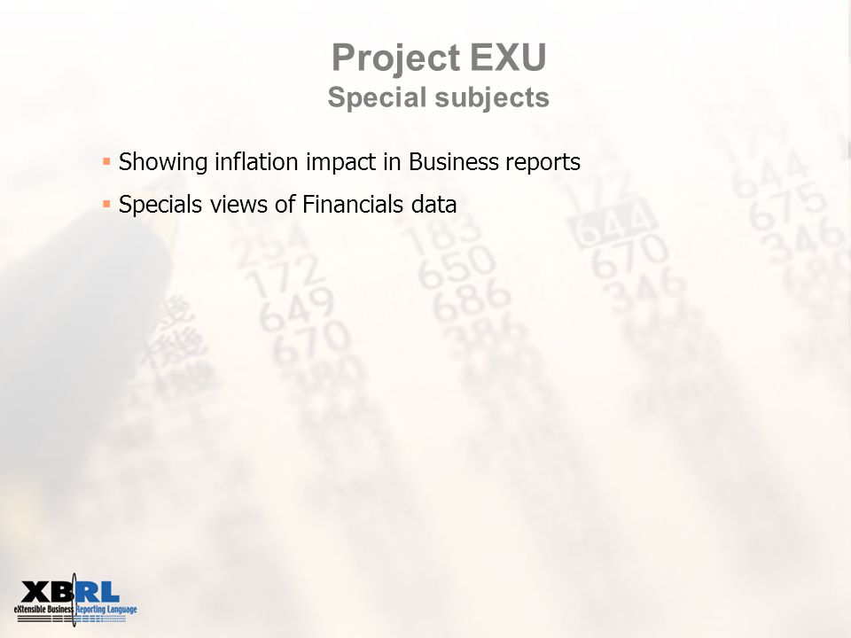 Project EXU Special subjects  Showing inflation impact in Business reports  Specials views of Financials data