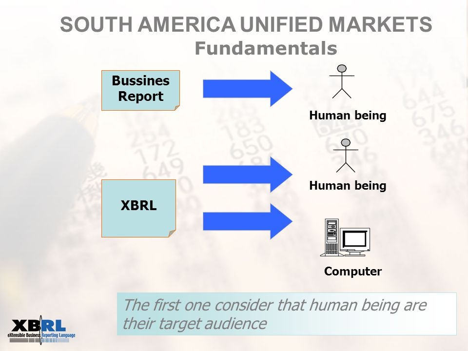 The first one consider that human being are their target audience Bussines Report XBRL ComputerHuman being SOUTH AMERICA UNIFIED MARKETS Fundamentals