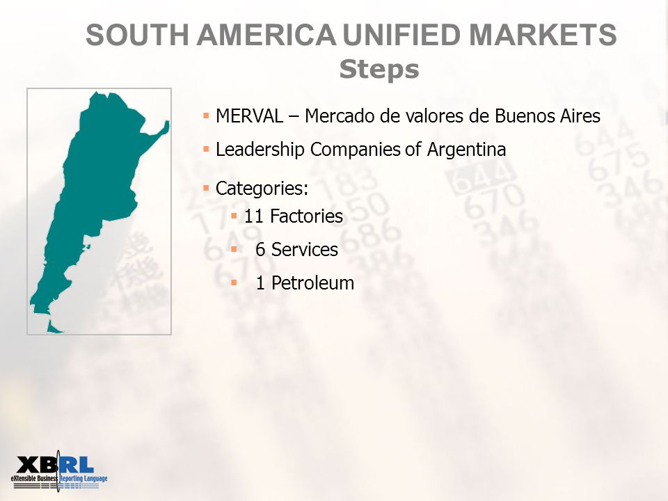 SOUTH AMERICA UNIFIED MARKETS Steps  MERVAL – Mercado de valores de Buenos Aires  Leadership Companies of Argentina  Categories:  11 Factories  6 Services  1 Petroleum