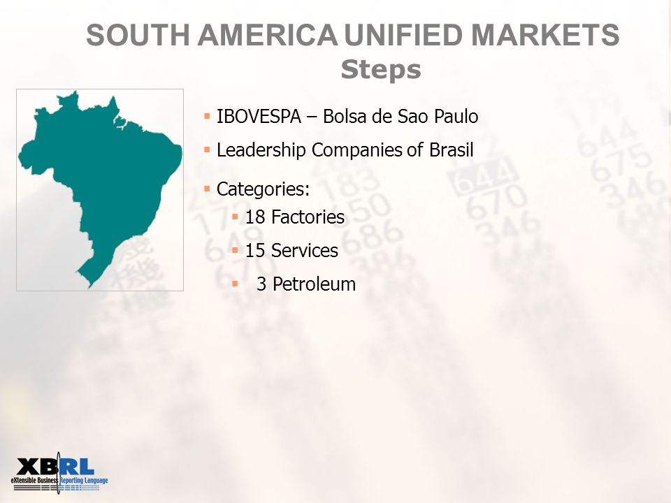 SOUTH AMERICA UNIFIED MARKETS Steps  IBOVESPA – Bolsa de Sao Paulo  Leadership Companies of Brasil  Categories:  18 Factories  15 Services  3 Petroleum