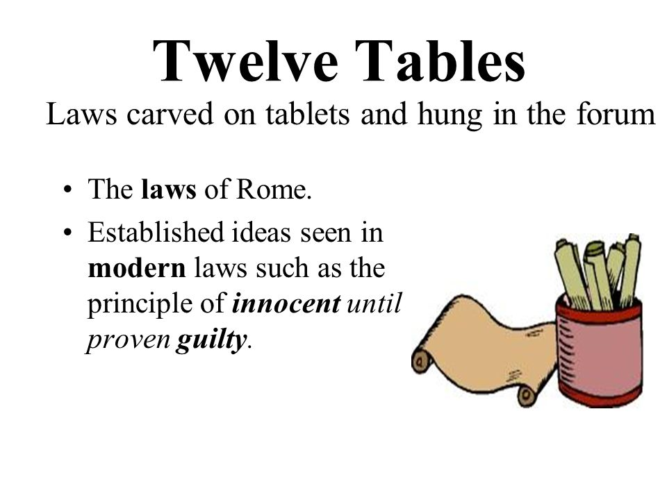 Twelve Tables The laws of Rome.