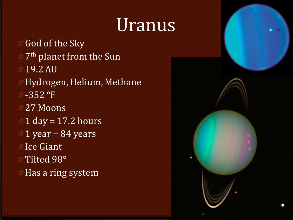 Uranus 0 God of the Sky 0 7 th planet from the Sun AU 0 Hydrogen, Helium, Methane °F 0 27 Moons 0 1 day = 17.2 hours 0 1 year = 84 years 0 Ice Giant 0 Tilted 98° 0 Has a ring system