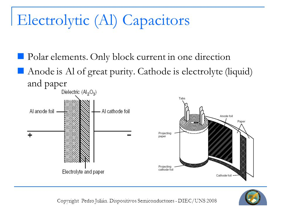 Copyright Pedro Julián. Dispositivos Semiconductores - DIEC/UNS 2008 Electrolytic (Al) Capacitors Polar elements. Only block current in one direction