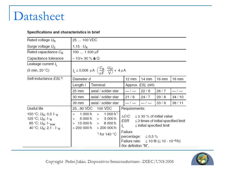 Copyright Pedro Julián. Dispositivos Semiconductores - DIEC/UNS 2008 Datasheet