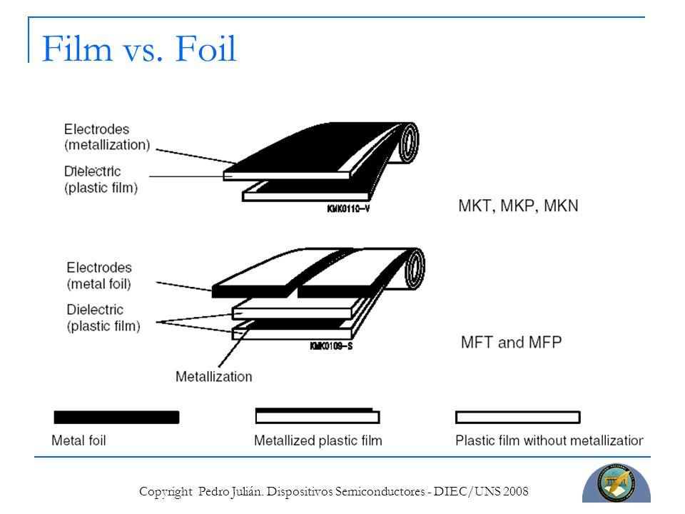 Copyright Pedro Julián. Dispositivos Semiconductores - DIEC/UNS 2008 Film vs. Foil