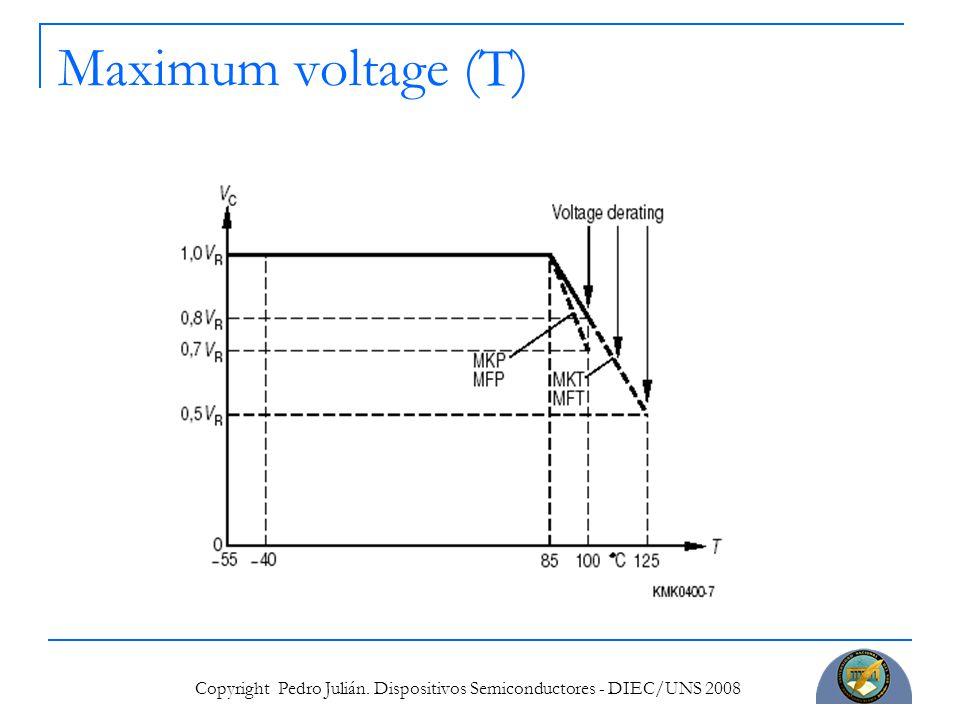Copyright Pedro Julián. Dispositivos Semiconductores - DIEC/UNS 2008 Maximum voltage (T)
