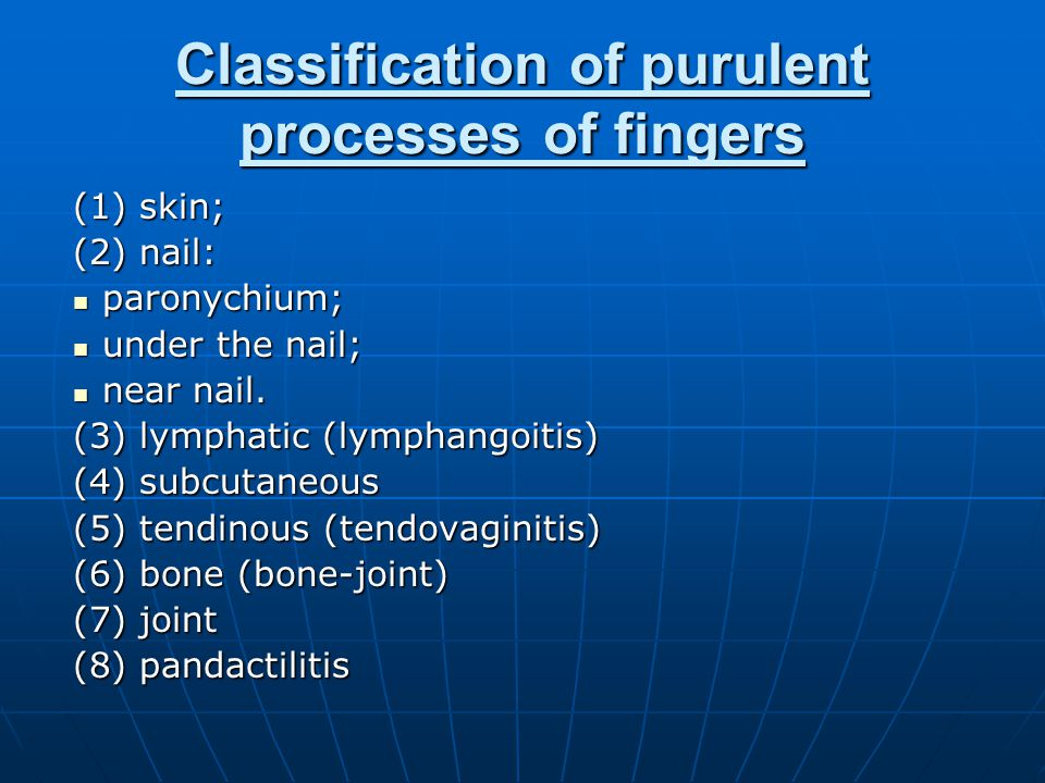 Classification of purulent processes of fingers (1) skin; (2) nail: paronychium; paronychium; under the nail; under the nail; near nail.