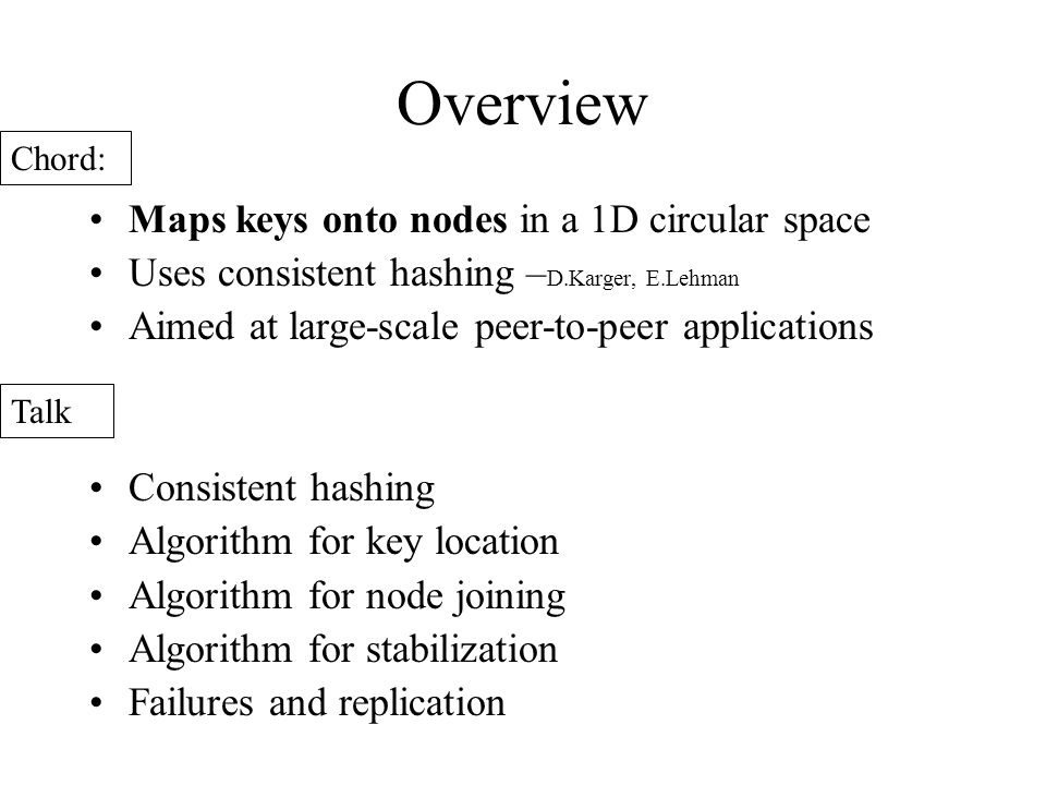 Overview Maps keys onto nodes in a 1D circular space Uses consistent hashing – D.Karger, E.Lehman Aimed at large-scale peer-to-peer applications Consistent hashing Algorithm for key location Algorithm for node joining Algorithm for stabilization Failures and replication Chord: Talk