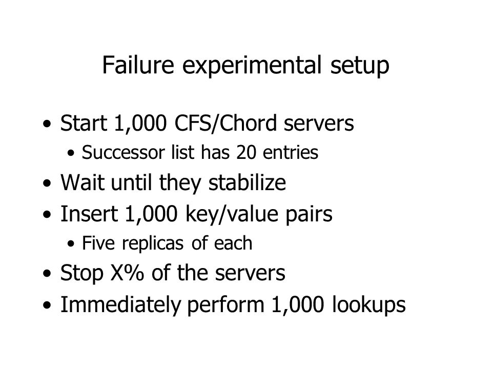 Failure experimental setup Start 1,000 CFS/Chord servers Successor list has 20 entries Wait until they stabilize Insert 1,000 key/value pairs Five replicas of each Stop X% of the servers Immediately perform 1,000 lookups